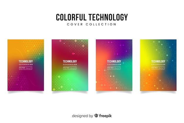 グラデーションテクノロジーコンセプトカバーコレクション