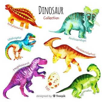 Коллекция акварельных динозавров