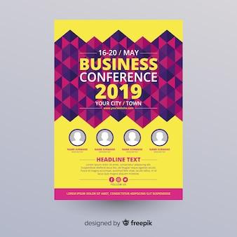 平らな抽象的なビジネス会議チラシテンプレート