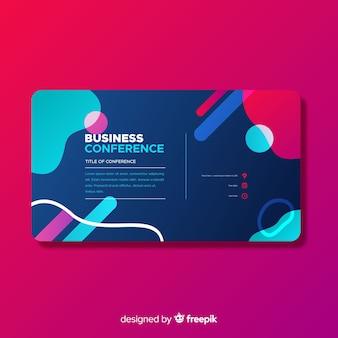 平らな抽象的な形のビジネス会議のランディングページ