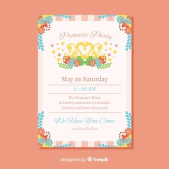 色とりどりの花のプリンセスパーティーの招待状のテンプレート
