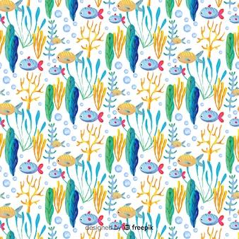 水彩サンゴパターン