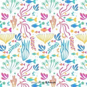 カラフルな手描きのサンゴパターン
