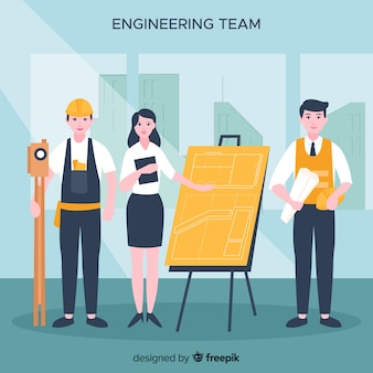 Плоский инженерная команда фон