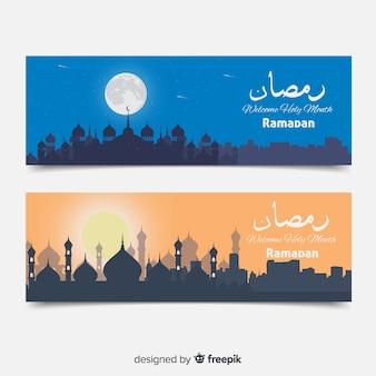 Плоские баннеры рамадана