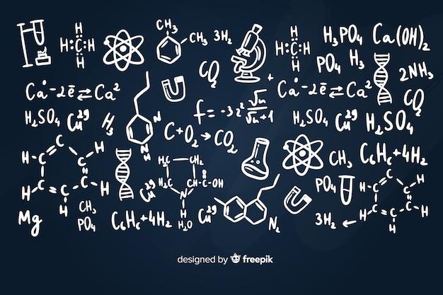 Фон классной доски с информацией о химии