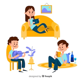 Дети играют и занимаются домашними делами. дизайн персонажа