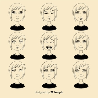 Коллекция персонажей с разными выражениями лица