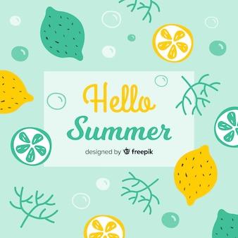平らなこんにちは夏の背景