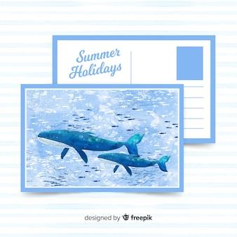 水彩夏休みはがき