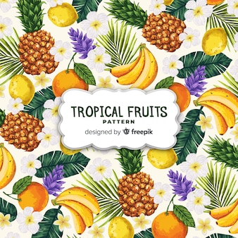 手描きのリアルなトロピカルフルーツパターン
