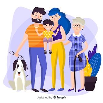 Счастливый семейный портрет, векторизованный дизайн персонажей