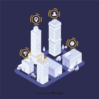 Изометрические умный город фон