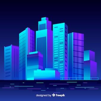 Плоский футуристический ночной город фон