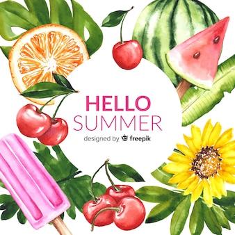 水彩こんにちは夏の背景