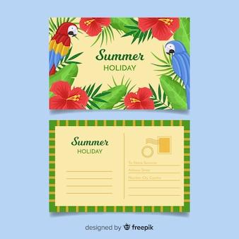平らな夏の休日のはがき