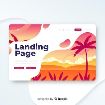 旅行のランディングページのテンプレート、美しいデザイン