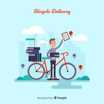 Плоский мальчик на велосипедном фоне