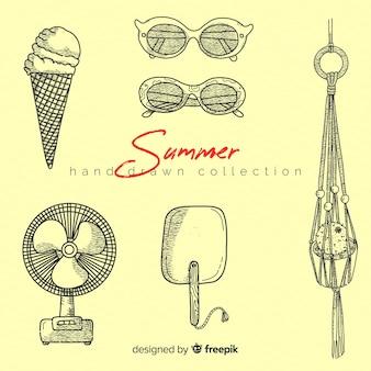 手描きの夏要素コレクション