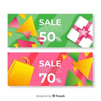 Реалистичные геометрические продажи баннеров