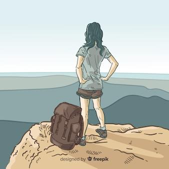 バックパックの背景を持つエクスプローラ