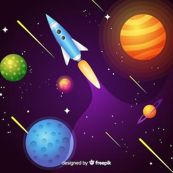 ロケットとグラデーション銀河の背景