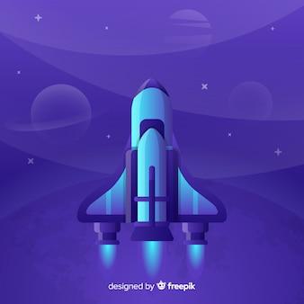 グラデーションフラットロケットイラストレーション