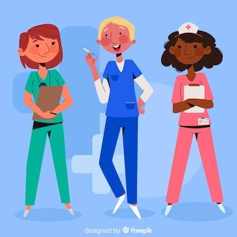 Плоская команда медсестер