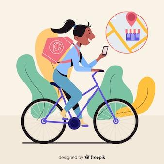 Плоская доставка девушка на велосипеде фоне