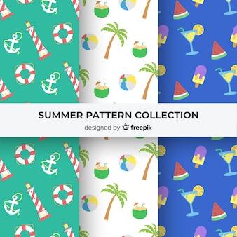 平らな夏パターンコレクション