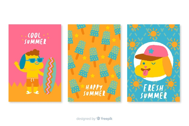 手描き夏カード
