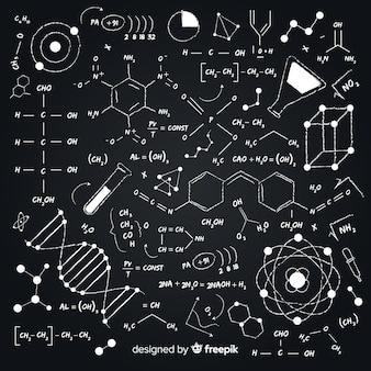 黒板に手描きの化学背景