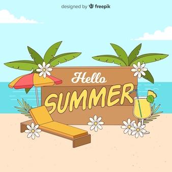 手描きのこんにちは夏の背景
