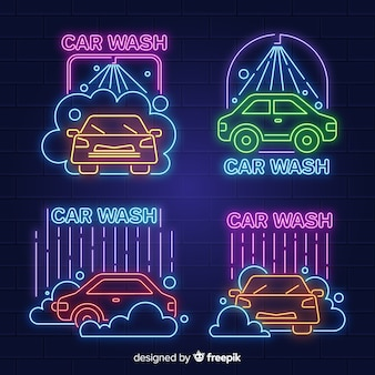 Неоновая коллекция знаков автомойки