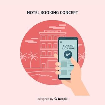 Концепция бронирования отелей в плоском стиле
