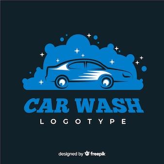 フラットブルーの洗車ロゴ