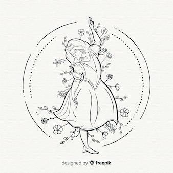 手描きの王女の背景