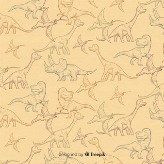 手描きの恐竜パターン