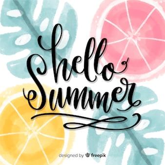 こんにちは夏をレタリング