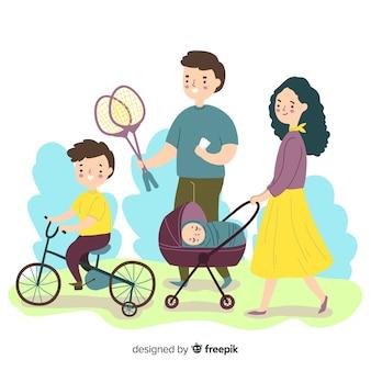 野外活動をしている家族