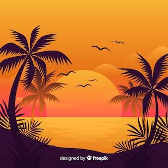 ビーチの夕日の風景の背景