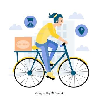 自転車配達コンセプトで手描きスタイル