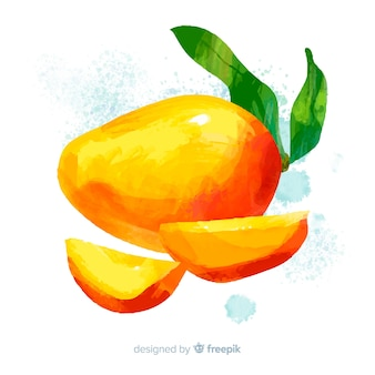 Акварель манго и листья фон