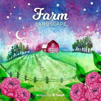 Фермерский пейзаж в стиле акварели