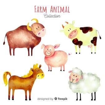 水彩風の農場の動物コレクション