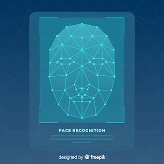 抽象的な平らな顔認識の背景