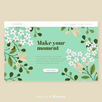 手描きの花の着陸ページ