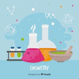 平らな化学要素の背景