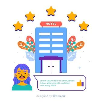 フラットなデザインのホテルレビューの概念図
