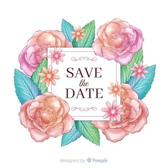 水彩花柄保存日付